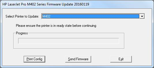 Updating firmware on HP LaserJet Pro M402 printers